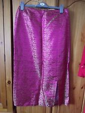 Hand Made Pink/Gold Fully Lined 100% Silk Skirt With Side Front Split 16