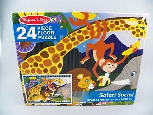 Melissa & Doug Safari Social Jumbo Jigsaw Floor Puzzle (24 pcs, 2 x 3 feet) EUC