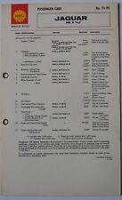 Jaguar Mk 10 X 4.2 original Shell Servicing Guide Lubrication Chart No. 73 PC