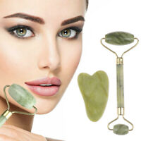 Roller and Gua Sha Tools by Natural Jade Scraper Massager with Stones for F Fy