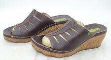 EL NATURALISTA Womens Sz 40 Comfort Summer Leather Cork Wedge Heel Sandals