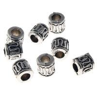 100 Metallperlen Spacer 6mm Antik Silber Röhre Zwischenteile Schmuck DIY M59C#4