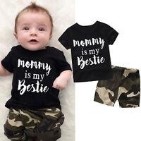 Bebé Recién Nacido Blusas Camiseta + Camuflaje Shorts Pantalones Conjunto Ropa