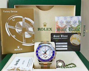 ROLEX 18kt Rose Gold & SS YachtMaster II 44mm Blue Hands 116681 SANT BLANC