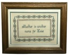 Completed cross stitch embroidery mother family love home decor art 8x9.5 gift