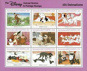 Grenada Grenadines 1988 - Disney, 101 Dalmations - Sheetlet of 9 - MNH