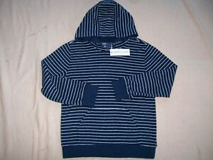 """NWT! """"JANIE AND JACK"""" NAVY BLUE & WHITE STRIPED PULLOVER HOODIE-COTTON/POLY-SZ 8"""