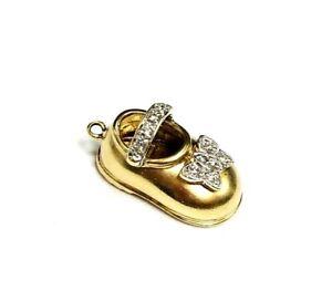 14k Yellow Gold Diamond Sandal Shoe Pendant Charm 2.9 gr