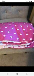 Pottery Barn Kids Heart Duvet Cover Bright Pink Full  Queen Reversible No Sham