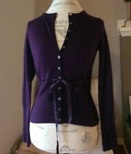 Sarah Spencer 100 % Merino Wool Dark Purple Cardigan Women's Size Small