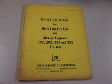 PARTS CATALOG FOR HARLO FORK LIFT KIT ON MASSEY FERGUSON 202,203,204,205 TRACTOR
