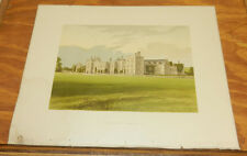 1866 Antique COLOR Print/PENSHURST CASTLE, KENT, HOME OF LORD DUDLEY