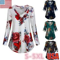 Plus Size S-5XL Women Long Sleeve Floral Print V Neck Tunic Top Loose Blouse US