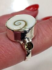 Artisan 925 Sterling Silver Shiva Shell smokey Topaz Accents Ring Size 8