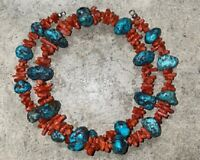 Vintage Turquoise And Branch Coral Necklace, 22 Inches, 80 Grams