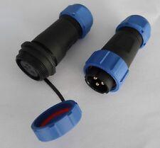 Verbinder 3 polig 21mm wasserdicht Garten Boot KFZ Buchse IP68 Rundstecker