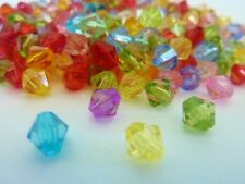 300 pce Transparent Colour Mix Faceted Bicone Acrylic Beads 6mm Jewellery Make