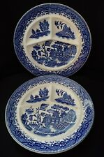 VTG SET OF 2 BLUE WILLOW DIVIDED GRILL PLATES OCCUPIED JAPAN 10""