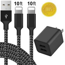Phone Charger 10FT with Wall Plug (3-in-1), Boost 2.4A Dual USB Wall Charger ...