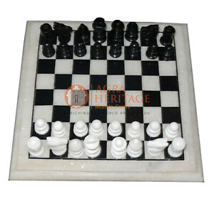 "12"" Marble Handmade Top Chess Table Black & White Stone Art Christmas Eve Gift"