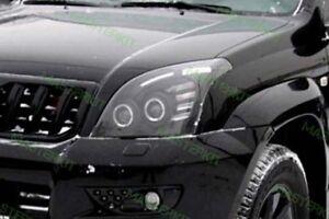 Black Headlights For Toyota Land Cruiser 120 EAGLE EYES Head Lamps 02 - 09 R+L