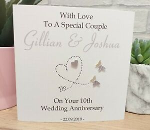 Personalised Tin 10th Wedding Anniversary Card Special Couple Wife Husband