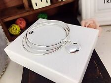 925 silver bangles with hanging heart diameter 6.5cm