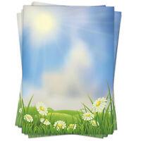 50 Blatt Briefpapier Set DIN A4 Motivpapier Bastelpapier Blumen-Wiese Sommer
