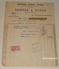FACTURE 1941 Ebénistes SANYAS & POPOT - Guéridon palissandre - Flambeau - Bahut