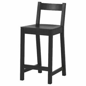 IKEA Nordviken Bar Stool with Backrest Black 24 3/8 FREE SHIPPING