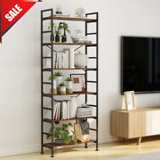 6 Tiers Bookcase Shelves Wood Metal Bookshelf Display Rack Organizer Holder _NEW