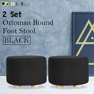 2X Fabric Ottoman Round Foot Stool Rest Pouffe Wooden Leg Padded Seat - BLACK