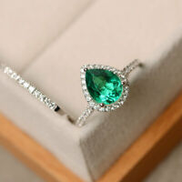 14K Solid White Gold Diamond 2.35 Ct Pear Cut Emerald Engagement Band Sets *-78