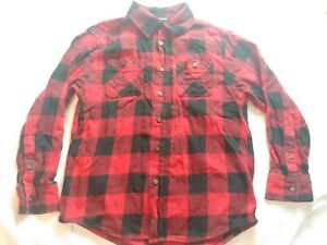 BOYS FADED GLORY PLAID FLANNEL BUTTON UP RED/BLACK large 10-12