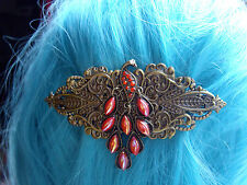 Steampunk Victorian Style Peacock Hair Barrette Clip Slide Grip