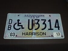 2013 Mississippi Wheelchair License Plate Tag U3314 Harrison