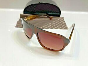 $425 Sama Eyewear Quentin Polarized Sunglasses Matte Brown Golden Tortoise