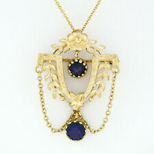 Vintage Victorian Revival Etched 14K Gold Round Amethyst Chain Pendant Necklace