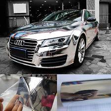 "12"" x 60"" - Cool Car Wrap Flat Glossy Mirror Chrome Vinyl Sticker Film Silver HD"