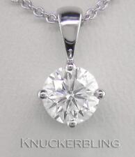 0.70ct F SI Exc Round Brilliant Cut Diamond & 18ct White Gold Pendant with Chain