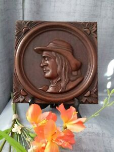 French Folk Art Wood Breton Panel Plaque Hand Carved Wall Portrait Pediment