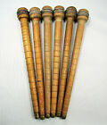 Lot 6 Vintage Antique Wood Wooden 10' Brass Tipped Quill Bobbins Sewing Textile
