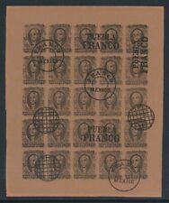 MEXICO 1856-61 Hidalgo 8r black on brown full sheet of 1880s Spiro productions!