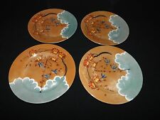 LOVELY LUSTREWARE SET OF 4 SALAD PLATES FLYING BLUE BIRDS SWALLOWS JAPAN VGC
