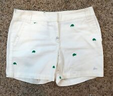 J. Crew Broken In Chino Size 2 Womens White Turtle Rabbit Embroidered Shorts
