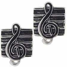 Pair of G CLEF MUSIC STUD EARRINGS 925 Sterling SILVER 8.7mm x6.5mm : Ladies