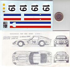 decals decalcomanie pour ferrari 250 gto n19 1/18