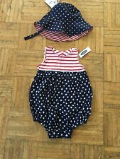 NEW Old Navy Baby Girl Patriotic Bodysuit & Sun Hat