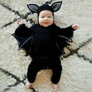 Halloween Toddler Baby Boys Girls Cosplay Bat Costume Romper Hat Outfits Set
