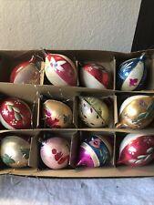 Vintage Christmas Ornaments Mercury Glass Teardrop Lot of 12  Handpainted Poland